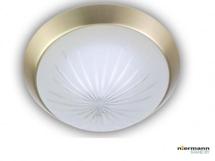 Flurlampe Dielenbeleuchtung Deckenschale rund Ø25cm Schliffglas Messing matt