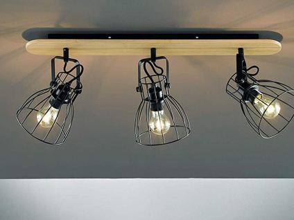 3flammiger Retro Deckenstrahler, Gitterlampe Lampenschirme schwarz & Holz natur