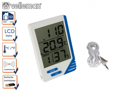 Digitalthermometer mit Hygrometer, Thermometer Innen Außen Innenfeuchte Wohnung - Vorschau 1