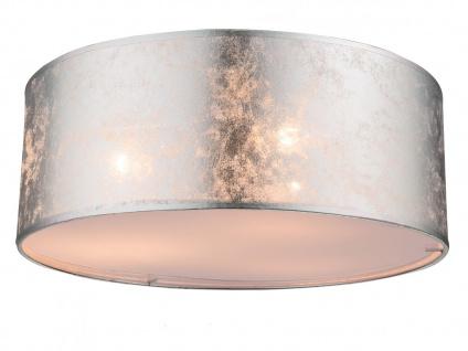 Globo Deckenleuchte 40cm mit LED Stoffschirm silber, Deckenlampe Wohnzimmer Flur