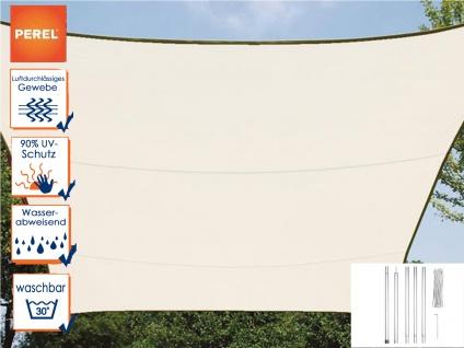 Sonnensegel Rechteckig 3x4m Creme mit Stangenset für Garten - Sonnenschutzsegel