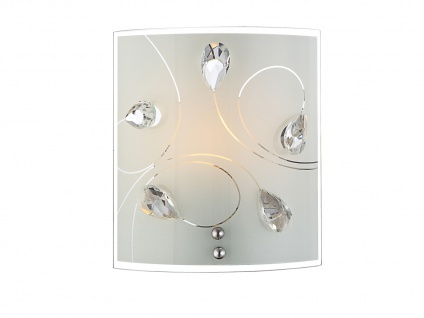 Eckige kleine Wandleuchte Glasschirmlampe mit Deko Kristallen und Opalglas klar