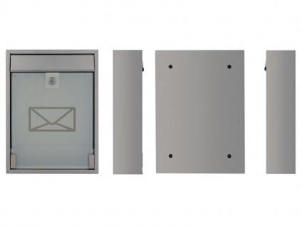 Briefkasten Silber satinierte Tür 2 Schlüssel Design Wandbriefkasten 26x36x8 cm - Vorschau 3