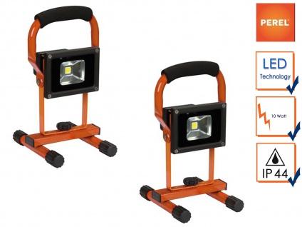 2Stk. tragbare LED Baustrahler 10W neutralweiß mit Akku, Fluter Arbeitsleuchten