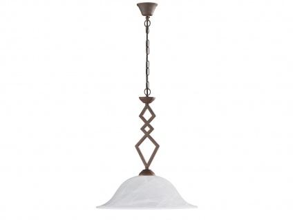HONSEL Landhaus Pendelleuchte E27, Hängelampe antik mit Lampenschirm Glas weiß