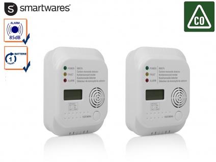 Doppelpack Kohlenmonoxid Melder 7-Jahres Sensor, CO Warner Gasmelder Gasdetektor
