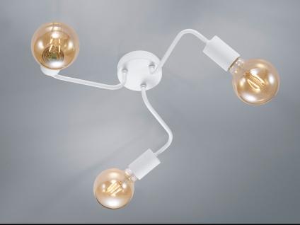 Dimmbare Retro Deckenleuchte LED rund aus Metall in weiß matt, Eßzimmerleuchte