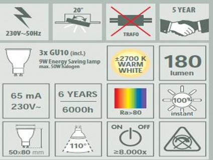 XQ-Lite Ranex Nova 0970 3er Set Einbauspots inkl. 3x GU10 Leuchten á 9W - Vorschau 2