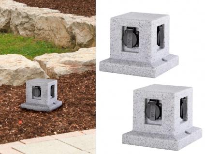 Außensteckdosen Granitoptik 4 fach - 2er Set Gartensteckdosen Terrassensteckdose