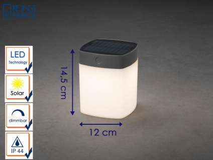 Solar LED Leuchte Grau 3-Stufen Dimmer Höhe 14, 5cm IP44 Terrassenbeleuchtung