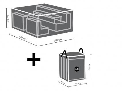 Schutzhüllen Set: Abdeckung 140x140cm für Garten Lounge + Hülle für 6-8 Auflagen - Vorschau 2