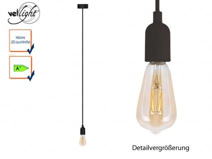 Vellight Schnurpendel Textil schwarz Hängelampe mit Filament LED, Pendelleuchte