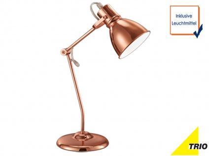 Schwenkbare LED Schreibtischleuchte im klassischen Stil, kupferfarbene Leselampe