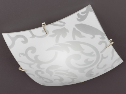 Deckenleuchte, Nickel matt, Glas weiß mit Dekor Ornamentik Honsel-Leuchten