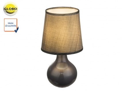 Tischleuchte VESUV grau braun mit LED, Keramik Lampenschirm Seide, Tischlampe