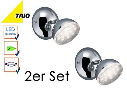 2er Set Trio Retro LED Wandstrahler Wandspot BOLOU chrom, Leselampen Wandleuchte
