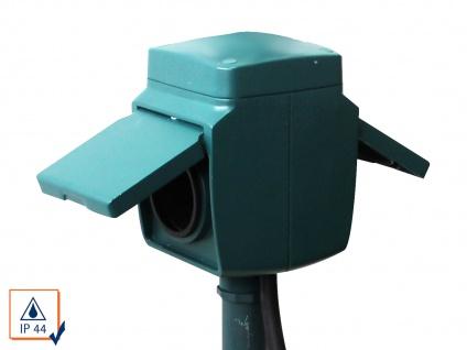 2-Fach Gartensteckdose mit Erdspieß, IP44, inkl. Kinderschutz Stromverteiler - Vorschau 3