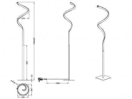 LED Stehleuchte mit Sensor Dimmer in Weiß matt Ø 21cm, 145cm hoch Memoryfunktion - Vorschau 3