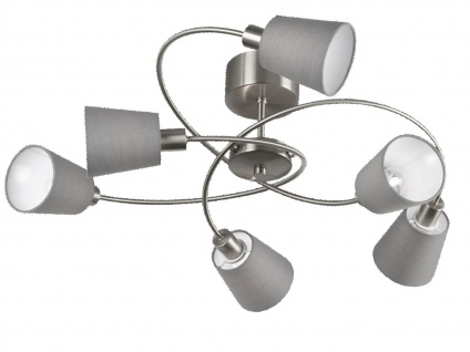 LED Deckenlampe 83cm Lampenschirme Stoff Chintz grau, Deckenleuchte Wohnraum