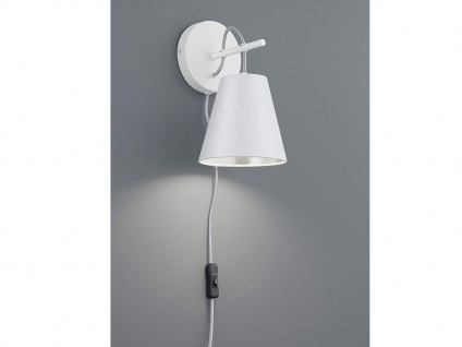 Moderne Wandlampe mit Stoffschirm in weiß/silber sehr edel - Wohnzimmerleuchte
