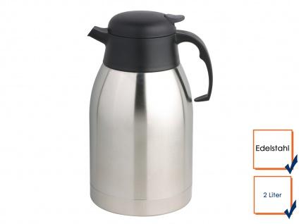 Profi Edelstahl Isolierkanne Gastro Thermoskanne 2 Liter, Kaffeekanne Teekanne