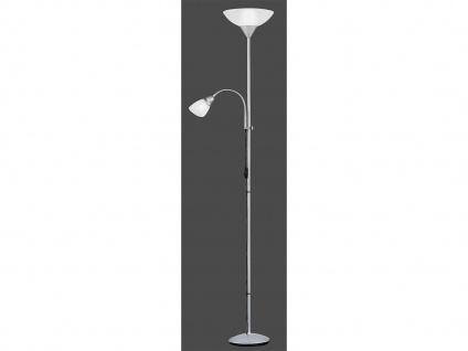 Elegante Stehlampe mit Deckenfluter + flex Lesearm getrennt schaltbar in Silber