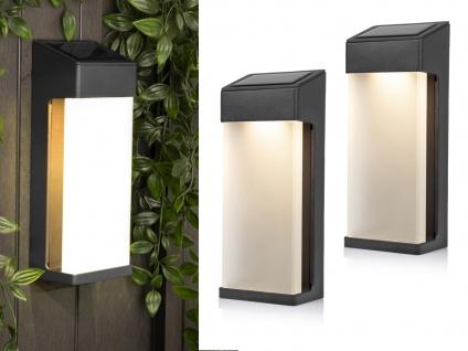 Solar Lampe mit Dämmerungssensor 2er Set LED Terrasselampe Wandlampe für draußen
