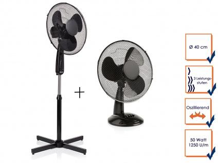 Tischlüfter & Standventilator Set Ø 40cm oszillierende Zimmerventilatoren Klima