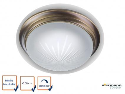LED Flurleuchte Dielenbeleuchtung DIMMBAR Ø30cm Schliffglas Altmessing gewölbt