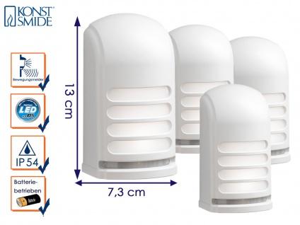 4er-LED Wandaufbauleuchten Nachtlicht PRATO Bewegungsmelder batteriebetr. weiß