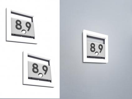 Flache Edelstahl Hausnummernleuchten SET - 2 eckige LED Wandstrahler mit Sensor