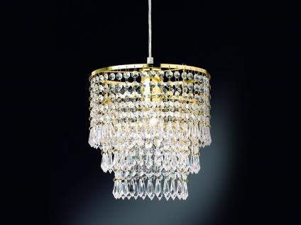 Einflammiger Kronleuchter runder Lüster Messing gold mit Acryl Kristallbehang