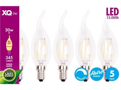 XQ-Lite 5er-Set Filament LED Leuchtmittel Kerze E14, 4W, 345 Lumen, dimmbar