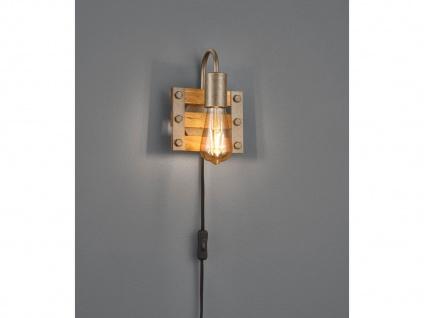 Ausgefallene Vintage Wandlampe aus Echtholz, Industriedesign Rustikal einflammig