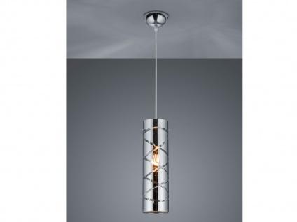 Zeitlose Pendelleuchte 1 flammig aus Metall in Chrom mit Rauchglas für Esszimmer