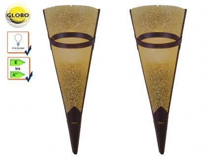 2x Globo Wandleuchte antik, Wandfackel RUSTICA, Metall rost, E14, Wandlampe Flur