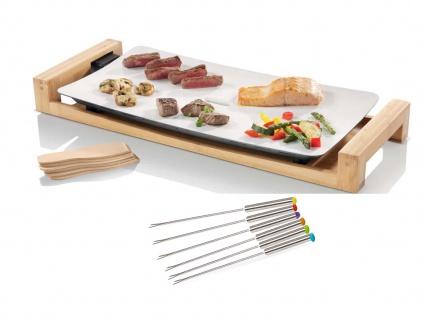 Teppanyaki Grillplatte in Weiß für Zuhause, elektrischer Tischgrill mit 6 Gabeln