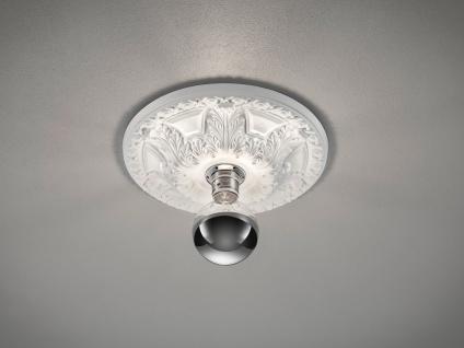 LED Stuckrosette Deckenlampe Gipsleuchte mit Ornament Design rund klein bemalbar