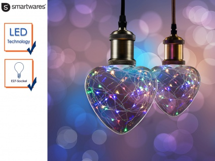 LED Deko Leuchtmittel Herz E27, 30 bunte LEDs, Stimmungsleuchtmittel Partylicht