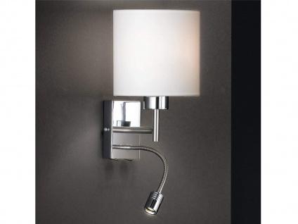 LED Wandleuchte mit Leseleuchte - kleine Wandlampe mit Lampenschirm Stoff Weiß