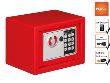 Elektronischer Safe rot mit Zahlencode, Möbeltresor Wandtresor Geldschrank Stahl