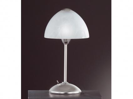 Tischleuchte, Nickel matt, Chrom, Glas weiß, Honsel-Leuchten, AMSTERDAM
