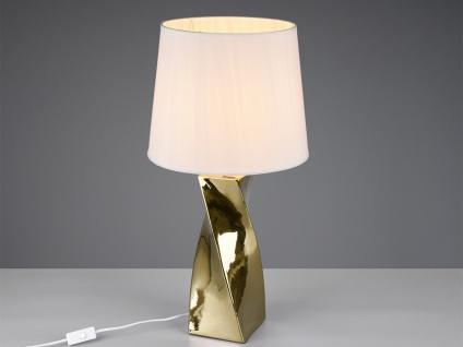 Große Keramik LED Tischleuchte in gold/weiß mit Stoffschirm Ø34cm Höhe 68cm