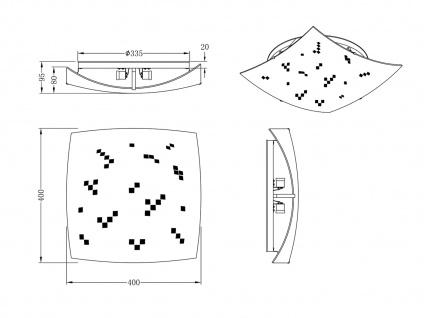 LED Deckenschale 40x40cm, Lampenschirm Glas satiniert in weiß, grau gemustert - Vorschau 5