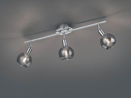 Moderner Deckenstrahler 3 flammig Chrom mit Rauchglas Lampenschirm schwenkbar