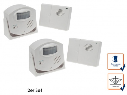 2er Set Funk PIR-Bewegungsmelder, Alarmfunktion, 110°/10m, Durchgangsmelder - Vorschau 1