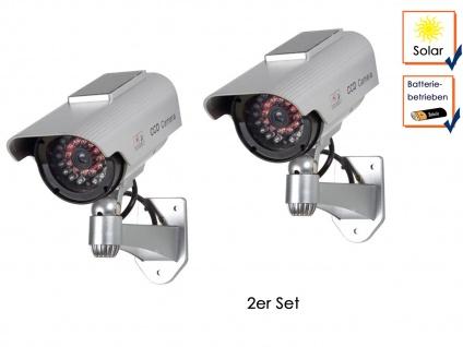 2er Set Kamera Attrappe, Solar, Batterie, IR-LEDs (Imitation), Dummy Kamera