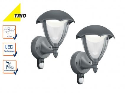 2Stk Trio LED Außenlampen Laterne GRACHT mit Bewegungsmelder, Design anthrazit