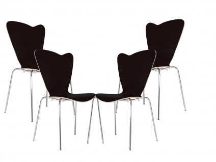 4er Design Stuhl HEART Stapelstuhl Esszimmerstuhl Bistrostuhl Schalenstuhl - Vorschau 2