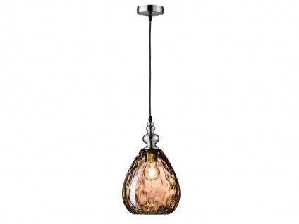 Pendelleuchte Nickel matt Glas Amberfarbig Ø 20cm E27 Hängeleuchte Wohnraumlampe